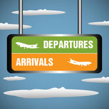 Departures and arrivals. Abstract colorful background with a signpost with the text departures and arrivals hanging from the skies Royalty Free Stock Images