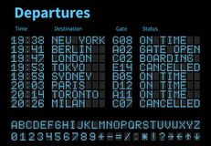 Departures and arrivals airport digital board vector template. Airline scoreboard with led letters and numbers. Airport display digital, scoreboard panel board royalty free illustration