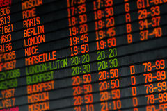 Departures and arrivals electronic schedule Royalty Free Stock Image