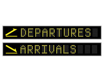 Departures Arrivals Led Signs Stock Photos
