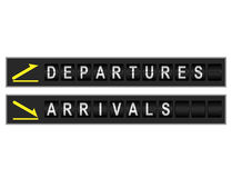 Departures Arrivals Signs Stock Photo
