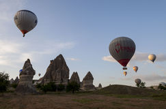 Departures balloons over Cappadocia Turkey royalty free stock images
