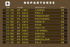 Departures board Royalty Free Stock Photo