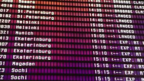 Departures board at the airport. Flight information electronically timetable. Split flap mechanical departures board. Flight schedule. Scoreboard flights stock video