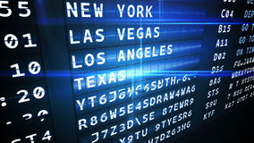 Departures board for american cities