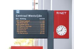 Departures board of the busses at Leiden central station of R-NET in the Netherlands.. Departures board of the busses at Leiden central station of R-NET in the royalty free stock images
