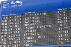 Departures board at the Dortmund Airport Royalty Free Stock Photography