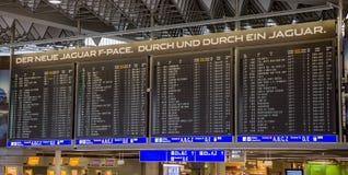 Departures board in international Frankfurt Airport Stock Photos