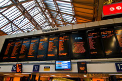 Departures board in the London train station Royalty Free Stock Image