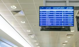 Departures Board at Prague Airport showing flights to other countries around the world stock image