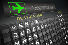 Departures board for space travel Stock Images