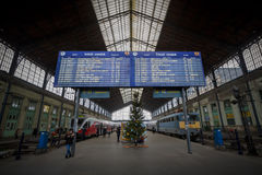 Departures board in the train station of Budapest Nyugati Stock Photo