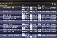 Departures display board showing international destinations flights. Tokyo - Mar 04, 2019: Departures display board showing international destinations flights to royalty free stock photo