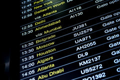 Departures flight information schedule in international airport Stock Image
