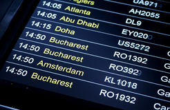 Departures flight information schedule in international airport Stock Photography