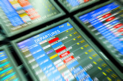 Departures flights  tables at Prague airport Royalty Free Stock Photo