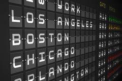 Departures list on black mechanical board Vector Illustration
