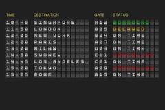 Departures list on black mechanical board Stock Illustration
