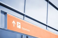 Departures sign at the airport Royalty Free Stock Photo