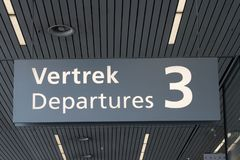 Departures sign 3 hanging at the ceiling. royalty free stock images