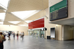 Departures signpost at railway station. Royalty Free Stock Photo