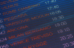Departures timetable. Timetable with european destinations and departure times Stock Images
