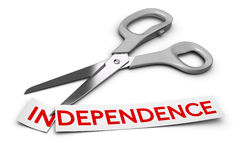 Dependence vs Independence, Addiction. Word independence cut in two parts in and dependence. Scissors at the background 3D render over white, Concept of drug Stock Image