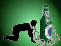 Dependency from drunkenness. Alcoholic man is riveted by chain to bottle Royalty Free Stock Photos