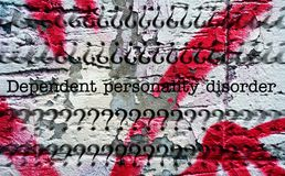 Dependent personality disorder. Close up of Dependent personality disorder Royalty Free Stock Photography