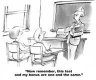 Dependiente de la prima del profesor en puntuaciones del test Imágenes de archivo libres de regalías