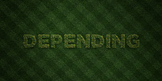 DEPENDING - fresh Grass letters with flowers and dandelions - 3D rendered royalty free stock image Royalty Free Stock Photo