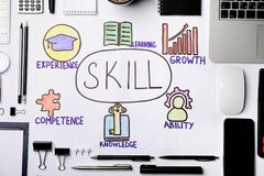 Depicted business trainer infographic. On white background. Skill elements concept royalty free stock image