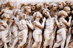 Depicting Hell. Bas-relief on the facade of Orvieto's Duomo Stock Image
