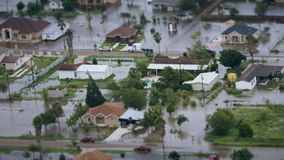Depiction of flooding after a hurricane.