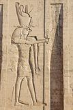 Depiction of Horus. At the entrance of the temple in Edfu royalty free stock photography