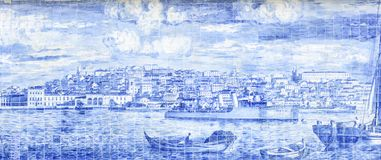 Depiction of Lisbon with the tile features. Representation of the city of Lisbon seen from the sea with the characteristic tiles stock illustration
