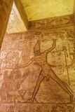 Depiction of Ramesses II killing an enemy. At the battle of Kadesh in the Great Temple of Abu Simbel stock image