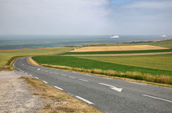 Depictions road on sea coast near Wissant city, France. Stock Photo