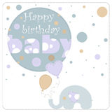 Depicts an elephant. Greeting card for birthday child. Depicts an elephant holding balloons and blue circles of varying size. On the largest circle the phrase Royalty Free Stock Images