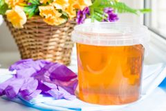 Composition of jar sugar paste or wax honey for hair removing with purple gloves and flowers - depilation and beauty concept. Depilation and beauty concept stock image