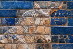 Deplete the bas-relief with the muzzle of a bull on the Ishtar Gate of Babylon Stock Photos