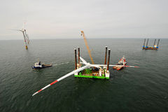Deploy of an Offshore wind park Royalty Free Stock Photography