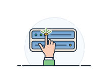 Deploy your server. Server deploy and configuration illustration. Finger pressing the button to turn on the server. Vector illustration Stock Photo