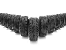 Deployed tyres Stock Photo