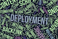Deployment, conceptual word cloud for business, information technology or IT. Deployment, IT, information technology conceptual word cloud for for design Royalty Free Stock Images