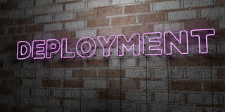 DEPLOYMENT - Glowing Neon Sign on stonework wall - 3D rendered royalty free stock illustration. Can be used for online banner ads and direct mailers Stock Images