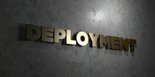Deployment - Gold text on black background - 3D rendered royalty free stock picture. This image can be used for an online website banner ad or a print postcard Stock Photography