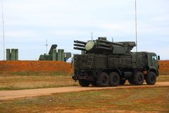 Russian anti-aircraft missile system of large and medium range C-400 Triumf in the Sevastopol. Deployment of the Russian anti-aircraft missile system of large Stock Photos