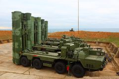 Russian anti-aircraft missile system of large and medium range C-400 Triumf in the Sevastopol stock image