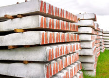 Depo with stack of  railways concrete sleepers. Made of cast concrete blocks. To replace timber decay Stock Photo